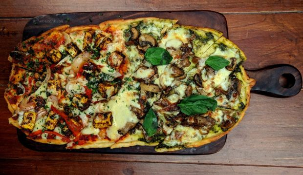 souk baconbaba peppy paneer pesto mushroom flatbread